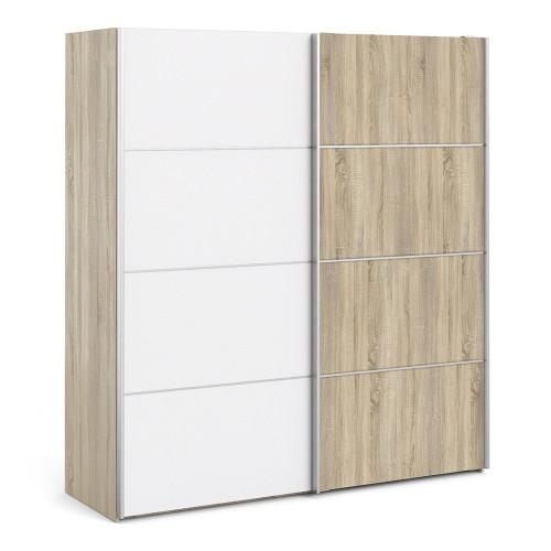 Verona 180cm Sliding Wardrobe with 5 Shelves in Mixed White & Oak Effect