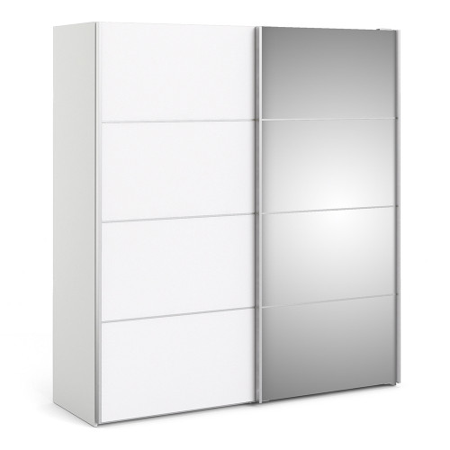 Verona Sliding Wardrobe 180cm in White with White and Mirror Doors with 5 Shelves