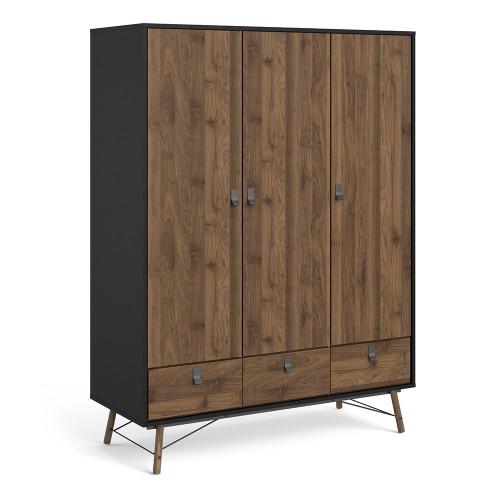Ry Matt Black Walnut Wardrobe with 3 Doors and 3 Drawers