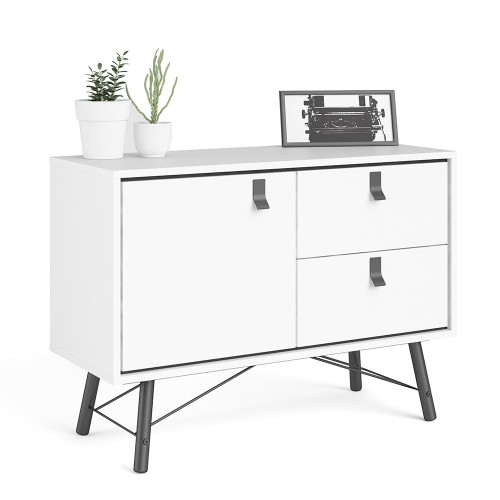 Ry Matt White Sideboard with 1 Door and 2 Drawers
