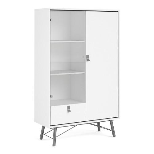 Ry Matt White China Cabinet with 1 Glass Door and 1 Drawer