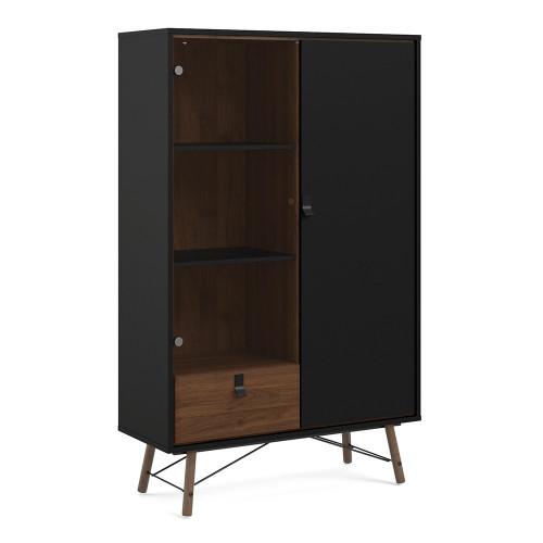 Ry Matt Black Walnut China Cabinet with 1 Glass Door and 1 Drawer