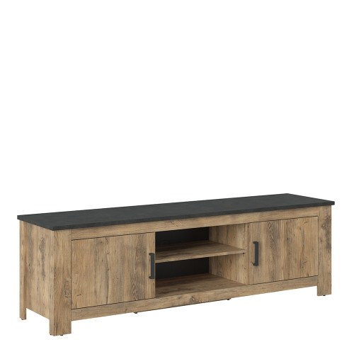 Rapallo Chestnut and Grey Large TV Cabinet with 2 Doors