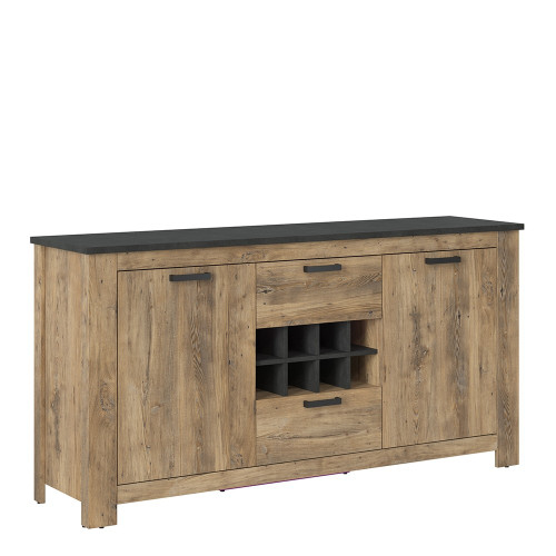 Rapallo Chestnut and Grey Sideboard with Wine Rack (2 Doors, 2 Drawers)
