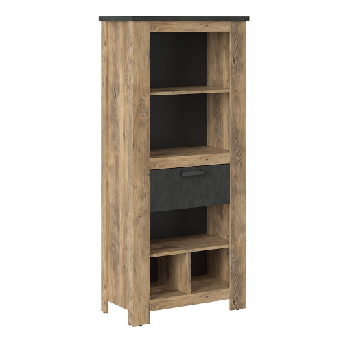 Rapallo Chestnut and Grey 1 Drawer Bookcase