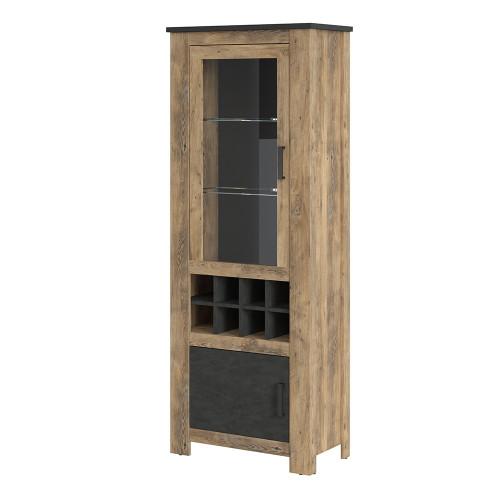 Rapallo Chestnut and Grey 2 Door Display Cabinet with Wine Rack