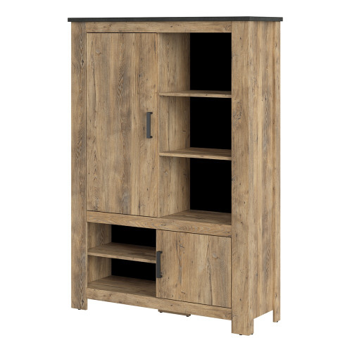 Rapallo Chestnut and Grey Cabinet with 2 Doors and 5 Shelves