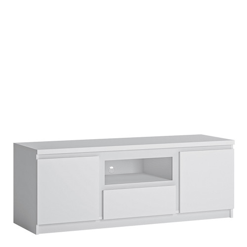 Fribo Small White TV Cabinet with 2 Doors and 1 Drawers