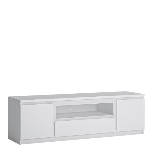 Fribo Large White TV Cabinet with 2 Doors and 1 Drawers