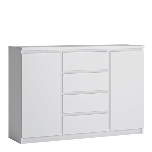 Fribo White Sideboard with 2 Doors and 4 Drawers