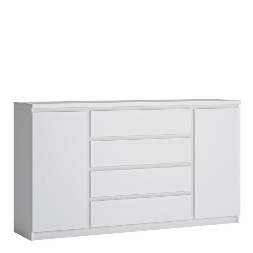 Fribo White Wide Sideboard with 2 Doors and 4 Drawers