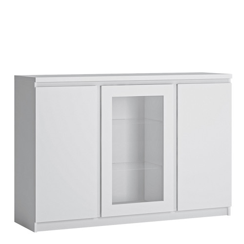 Fribo White 3 Door Sideboard with Glazed Centre