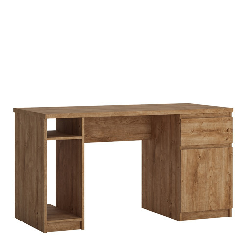 Fribo Oak Twin Pedestal Desk with 1 Door and 1 Drawer