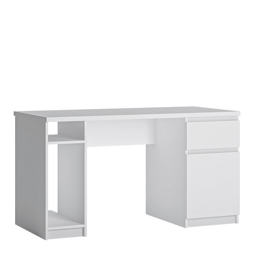 Fribo White Twin Pedestal Desk with 1 Door and 1 Drawer