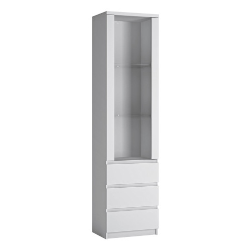 Fribo White Tall Narrow Glazed Display Cabinet (1 Door, 3 Drawers)
