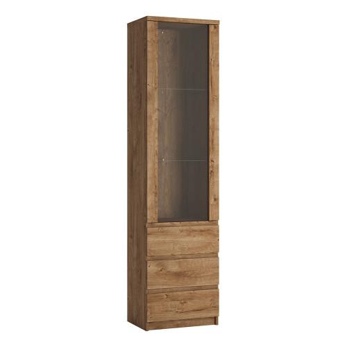 Fribo Oak Tall Narrow Glazed Display Cabinet (1 Door, 3 Drawers)