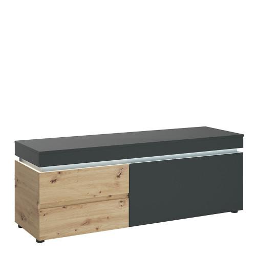 Luci Platinum and Oak TV Unit (1 Door 2 Drawer 150cm) (including LED lighting)