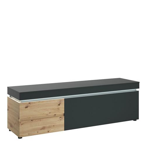 Luci Platinum and Oak TV Unit (1 Door 2 Drawer 180cm) (including LED lighting)