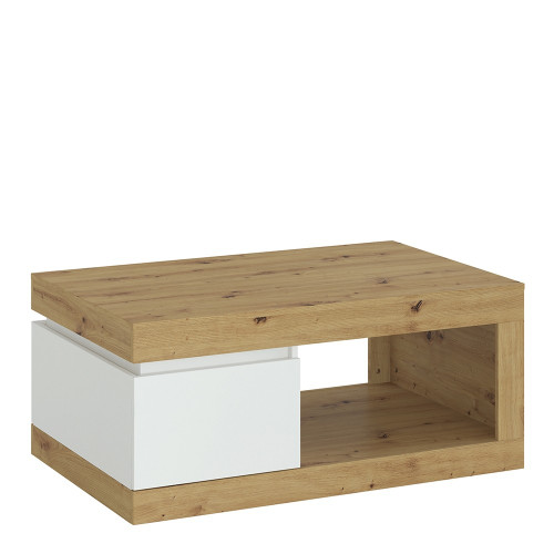 Luci White and Oak Coffee Table with 1 Drawer