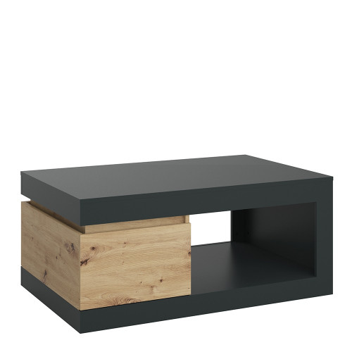 Luci Platinum and Oak Coffee Table with 1 Drawer