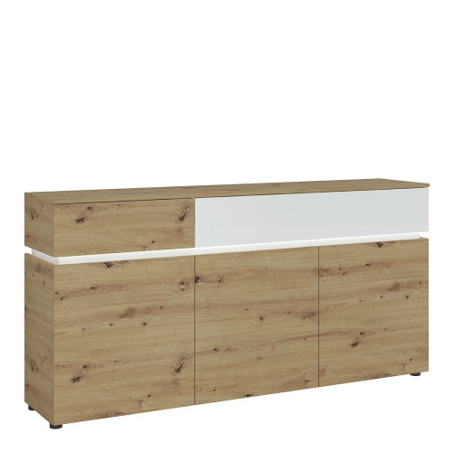 Luci White and Oak Sideboard (3 Doors, 2 Drawers) (including LED lighting)