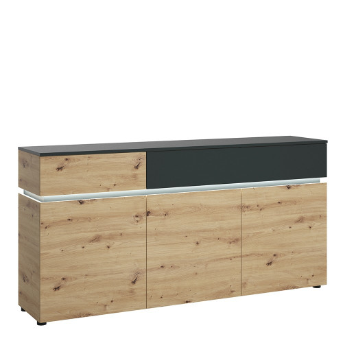 Luci Platinum and Oak Sideboard (3 Doors, 2 Drawers) (including LED lighting)