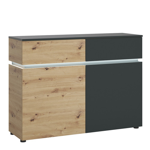 Luci Platinum and Oak 2 Door 2 Drawer Cabinet (including LED lighting)