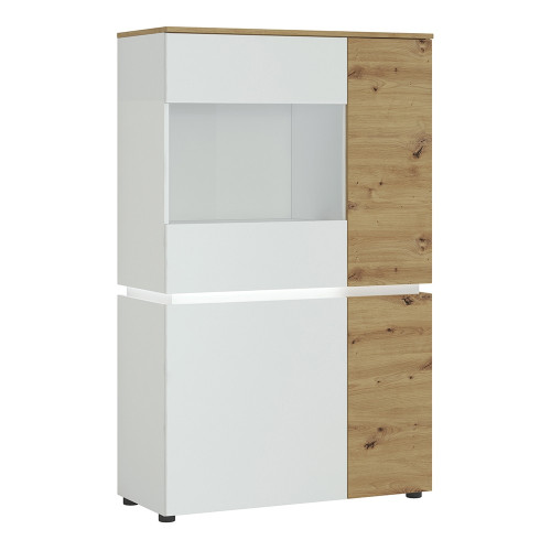 Luci White and Oak 4 Door Low Display Cabinet (including LED lighting)