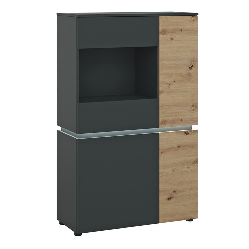 Luci Platinum and Oak 4 Door Low Display Cabinet (including LED lighting)