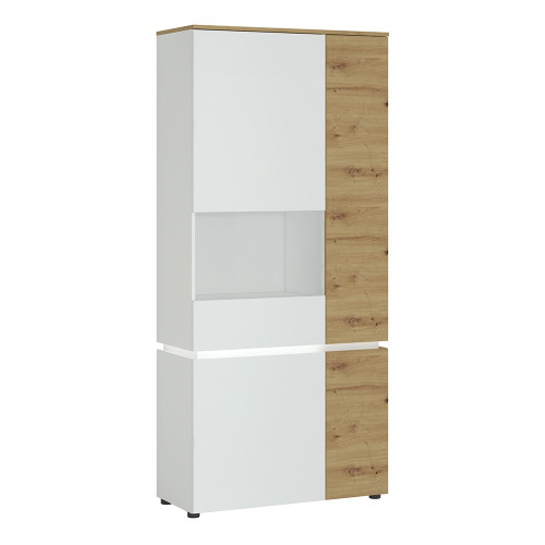 Luci White and Oak 4 Door Tall Display Cabinet LH (including LED lighting)