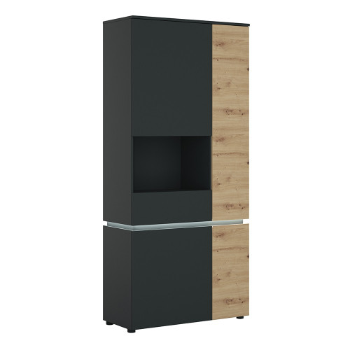 Luci Platinum and Oak 4 Door Tall Display Cabinet LH (including LED lighting)