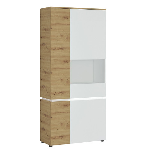 Luci White and Oak 4 Door Tall Display Cabinet RH (including LED lighting)
