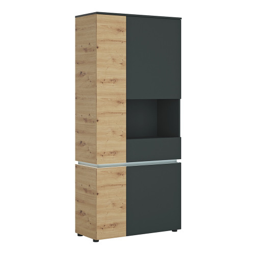 Luci Platinum and Oak 4 Door Tall Display Cabinet RH (including LED lighting)