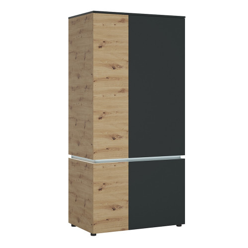 Luci Platinum and Oak 4 Door Wardrobe (including LED lighting)