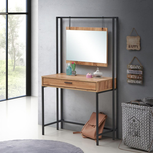 Zahra Oak Dressing Table with Mirror