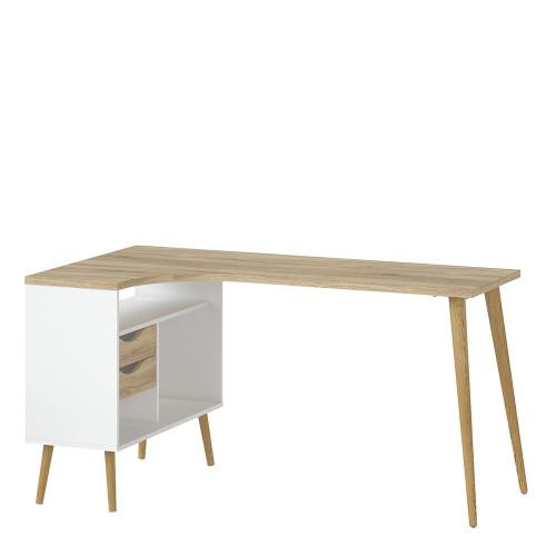 Oslo White and Oak 2 Drawer Desk