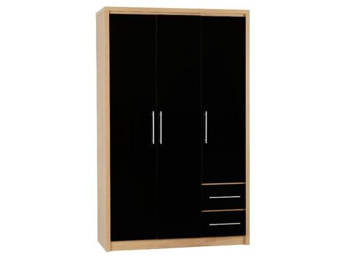 Seville Black 3 Door 2 Drawer Wardrobe