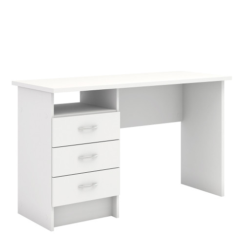 Function White Plus Desk with 3 Drawers