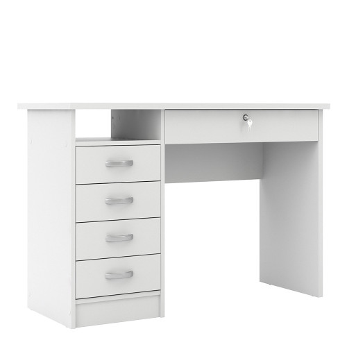 Function White Plus Desk with 5 Drawers