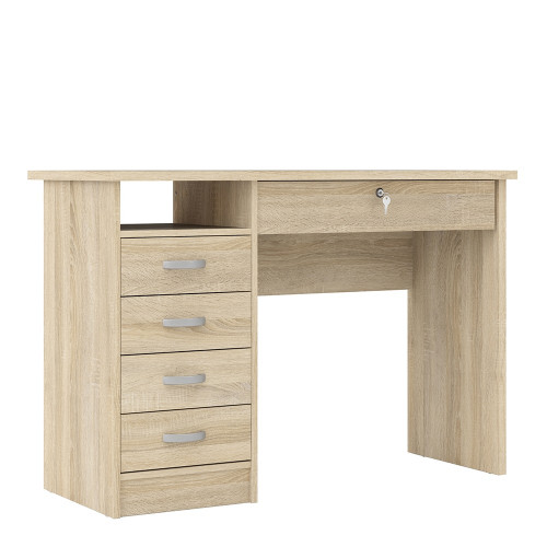 Function Oak Plus Desk with 5 Drawers