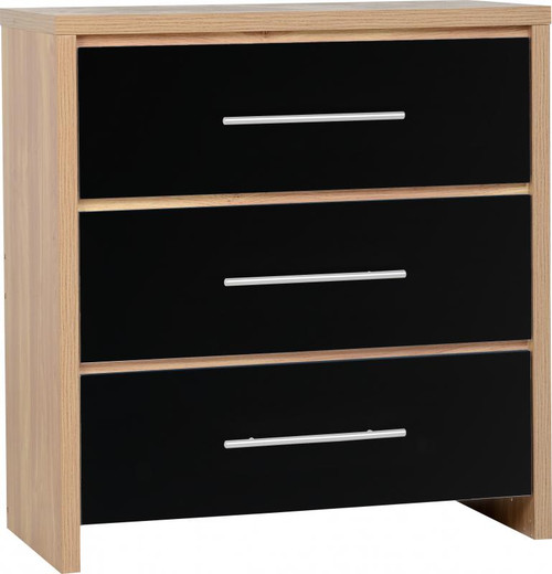 Seville Black 3 Drawer Chest