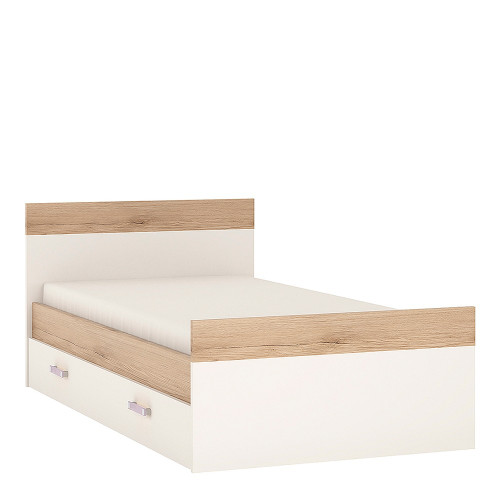4KIDS Bed with an Underbed Drawer with Lilac Handles