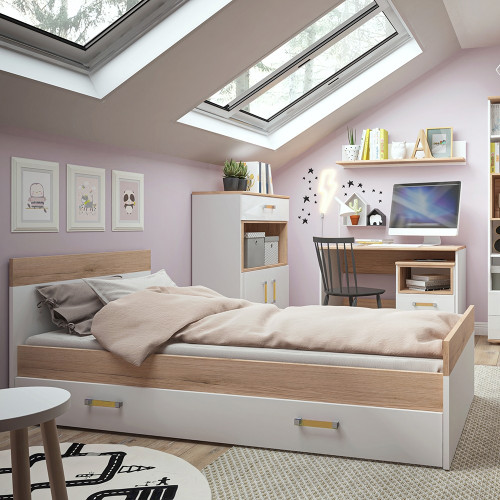 4KIDS Bed with an Underbed Drawer with Orange Handles