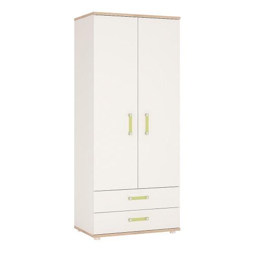 4KIDS 2 Door 2 Drawer Wardrobe with Lemon Handles