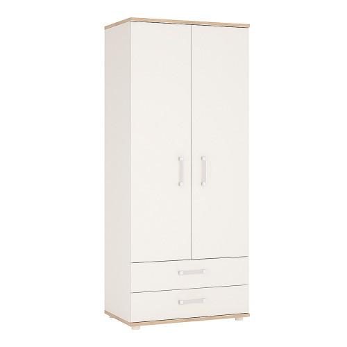 4KIDS 2 Door 2 Drawer Wardrobe with Opalino Handles
