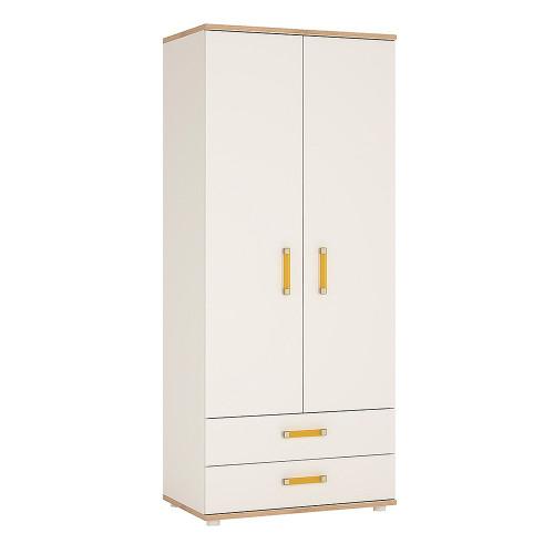 4KIDS 2 Door 2 Drawer Wardrobe with Orange Handles