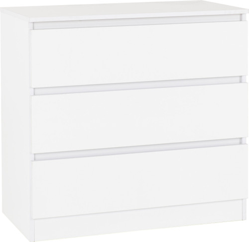 Malvern White 3 Drawer Chest