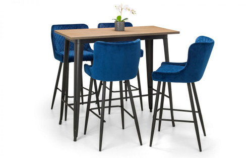Grafton Bar Table and 4 Luxe Blue Bar Stools