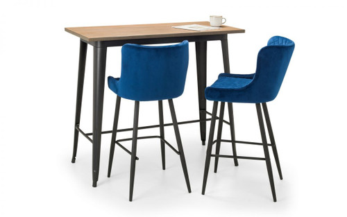 Grafton Bar Table and 2 Luxe Blue Bar Stools