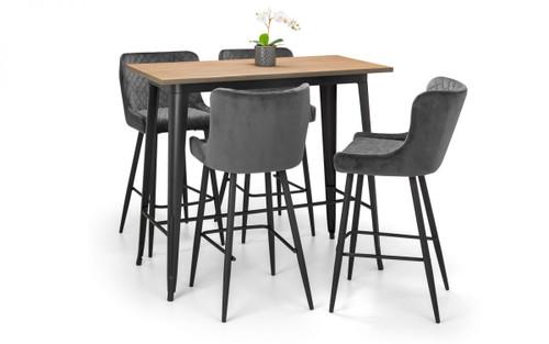 Grafton Bar Table and 4 Luxe Grey Bar Stools